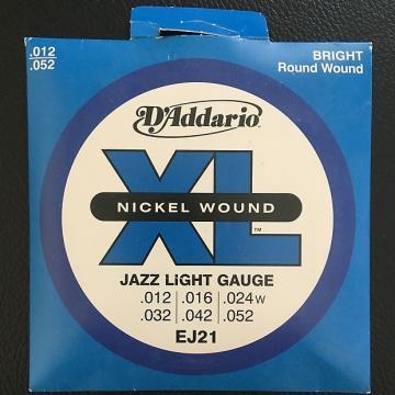 Custom D'Addario EJ21 Jazz Light Gauge Strings (.012-.052) Nickel Wound