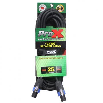 Custom ProX XC-SS25 SpeakON to SpeakON 12AWG Frequency Handling Professional Cable 25ft
