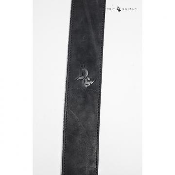 "Custom Detroit Guitar 2.5"" Genuine Leather Strap Black"
