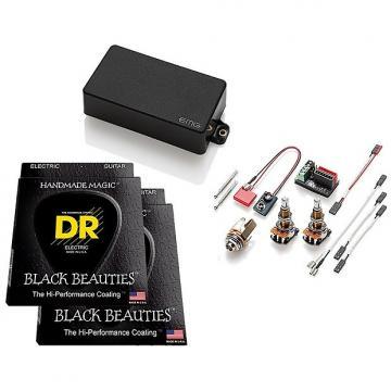 Custom EMG 60 Active Humbucker, Black, LONG SHAFT Pots,w 2 sets DR Black Beauties 9-46
