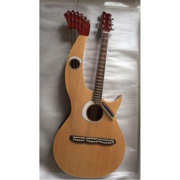 Custom Built Natural Double Neck Harp Acoustic Guitar