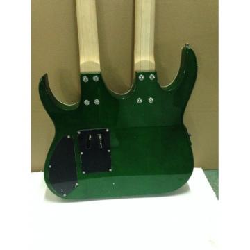 Custom Ibanez JEM 7V Green Double Neck Acoustic Electric 6 12 Strings Guitar