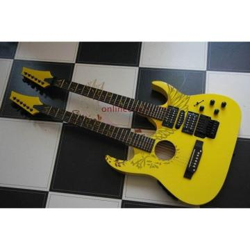 Custom Ibanez JEM 7V Yellow Double Neck Acoustic Electric 6 6 Strings Guitar