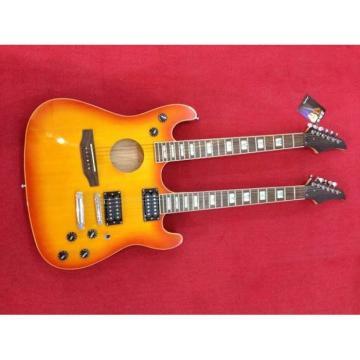 Custom Ibanez JEM 7V Sunburst Double Neck Acoustic Electric 6 6 Strings Guitar