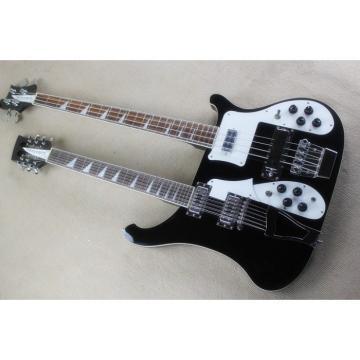 Custom 4003 Double Neck Black 4 String Bass 12 String Guitar Korean Bridge
