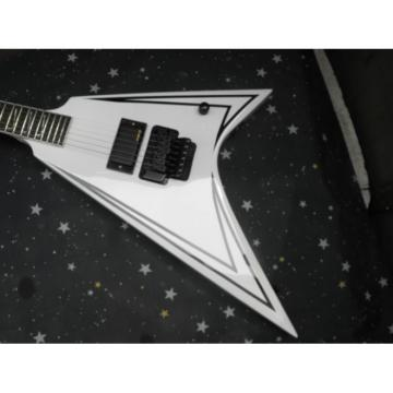 Custom Shop Flying V Jackson Artic White Black Stripe Electric Guitar