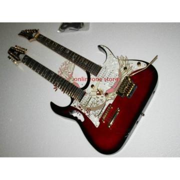 Custom JEM7V Red Black Double Neck 6/12 Strings Electric Guitar