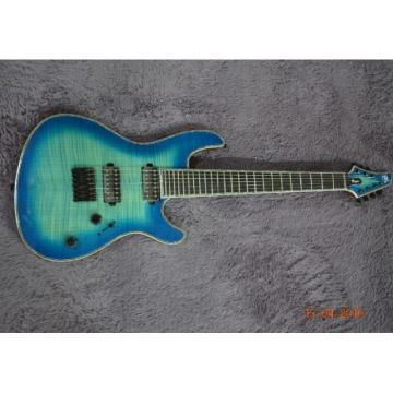Custom Built Mayones Flame Maple Blue Teal 6 String Electric Guitar