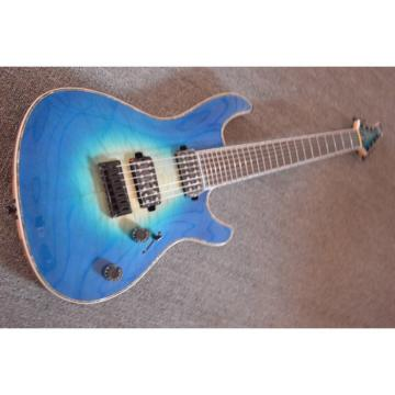 Custom Built Regius 7 String Trans Blue Mayones Guitar