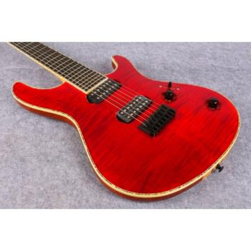 Custom Built Mayones Regius 7 String Electric Guitar Tiger Maple Red