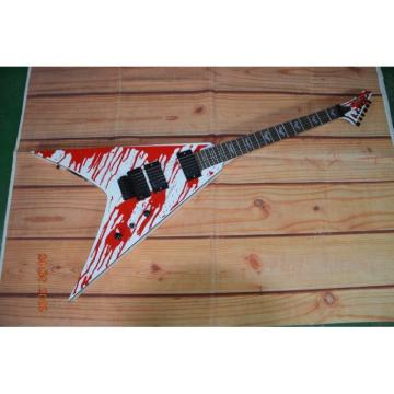Custom Built Dan Jacobs Flying V ESP LTD Blood Spatter Electric Guitar