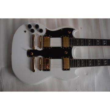 Custom Left Handed Don Felder EDS 1275 SG Double Neck Arctic White Gold Hardware Guitar