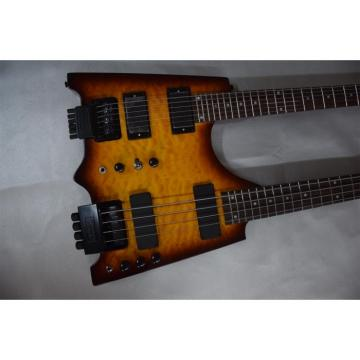 Custom Shop Sunburst Flame Maple Top Steinberger Double Neck Headless Guitar