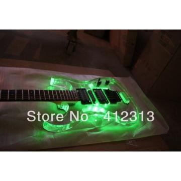 Custom Jackson Lucite Acrylic Plexiglass Green Led Guitar