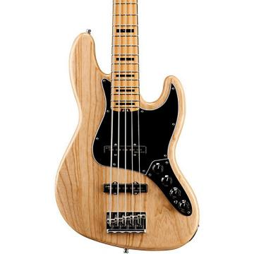 Fender American Elite Jazz Bass V, Maple Electric Bass Guitar Natural