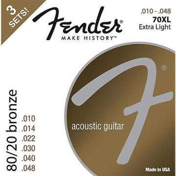 Fender 70XL 80/20 Phosphore Bronze Acoustic Guitar Strings 3-Pack, Extra Light Guage 10-48