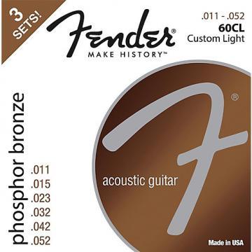 Fender 60CL Phosphor Bronze Custom Light Acoustic Guitar Strings 11-52 (3-Pack)