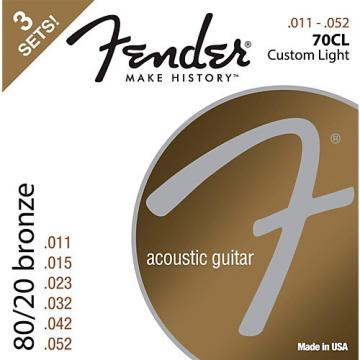 Fender 70CL 80/20 Phosphore Bronze Acoustic Guitar Strings, Custom Light Guage 11-52 (3-Pack)