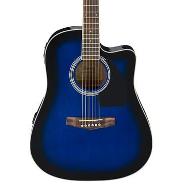 Ibanez Performance Series PF15 Cutaway Dreadnought Acoustic-Electric Guitar Transparent Blue Burst