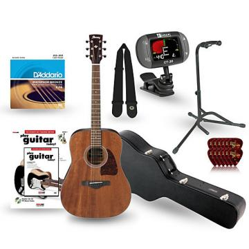 Ibanez AW54OPN Artwood Solid Top Dreadnought Open Pore Acoustic Guitar Deluxe Bundle Natural