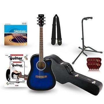 Ibanez Performance Series PF15 Cutaway Dreadnought Acoustic-Electric Guitar Deluxe Bundle Transparent Blue Sunburst