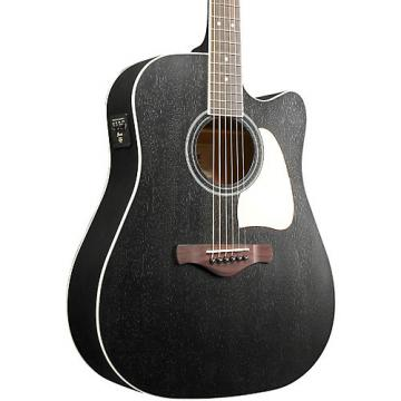 Ibanez Artwood AW360CEWK Solid Top Dreadnought Acoustic-Electric Guitar Weathered Black