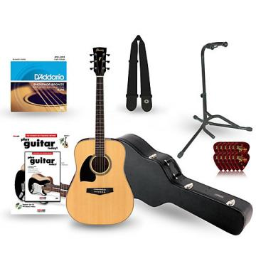 Ibanez Performance Series PF15 Left Handed Dreadnought Acoustic Guitar Deluxe Bundle Natural