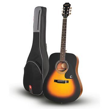 Epiphone DR-100 Acoustic Guitar Vintage Sunburst with Road Runner RR1AG Gig Bag