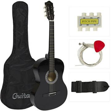 "38"" Black Acoustic Guitar Starter Package (Guitar, Gig Bag, Strap, Pick)"
