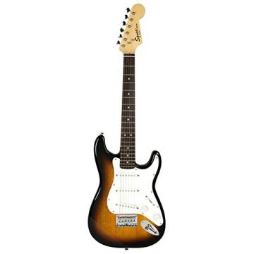 Squier by Fender Mini Strat Electric Guitar Bundle with Clip-On Tuner, Strap, Picks, Austin Bazaar Instructional DVD, and Polishing Cloth - Sunburst