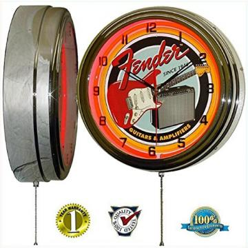 "Fender Guitar & Amp 15"" Neon Light Wall Clock Garage Band Music Studio Tin Metal Sign Red"