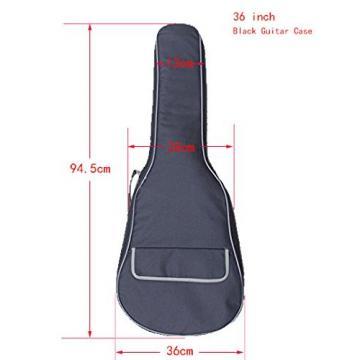 MiraTekk Nylon Cotton Acoustic Guitar Bag Backpack Two Back Pocket Gig Bag Electric Guitar Bag (Black - 36 inch)