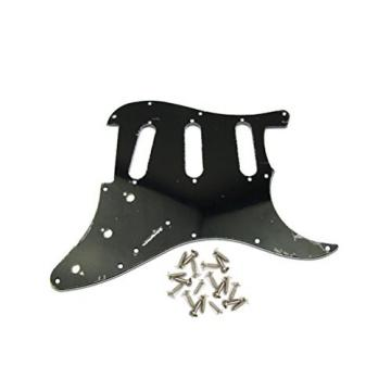 IKN Black 3Ply SSS Guitar Pickguard Scratch Plate w/Screws Strat Squier Replacement Guitar Part