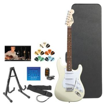 Squier by Fender Arctic White Electric Guitar w/ Stand, Strap, Strings, Tuner, Pick Sampler, Hard Case & Online Lesson