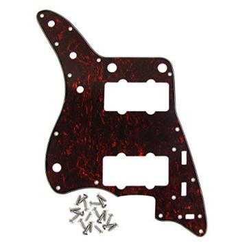 IKN Red Tortoise 4Ply Guitar Pickguard Scratch Plate for American Fender Style Vintage JM Guitar, with Screws
