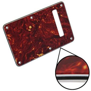 IKN ST Style Guitar Tremolo Trem Spring Cover Back Plate for Strat Style Standard Electric Guitar, 4Ply Real Red Tortoise