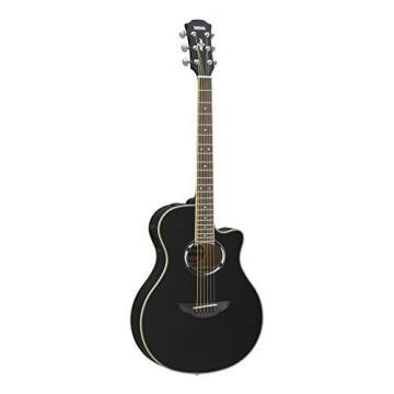 Yamaha APX500III BL Thin Line Acoustic/Electric Cutaway Guitar, Black Bundle with Hardshell Guitar Case, Guitar Stand, Beginner DVD, Strap, Capo and Guitar Strings