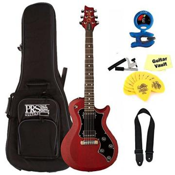 PRS S2 Singlecut Standard Satin Electric Guitar, Vintage Cherry, with guitarVault Accessory Kit and Gig Bag