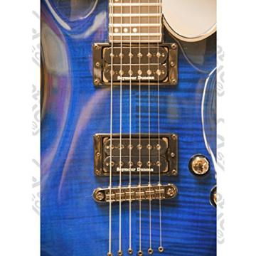 Schecter Blackjack Slim Line Series C-1 6-String Electric Guitar w/Case, See-Thru Blue Burst Bundle, w/Passive Pickups