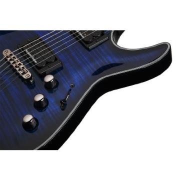 Schecter Blackjack Slim Line Series C-1 6-String Electric Guitar, See-Thru Blue Burst, with Passive Pickups