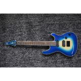 Custom Built Regius 7 String Transparet Blue Finish Mayones Guitar