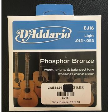 Custom D'Addario EJ16 Light Acoustic Guitar Strings (.012-.053) Phosphor Bronze