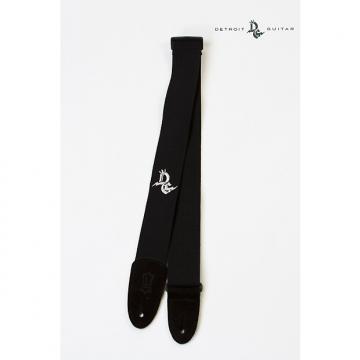"Custom Detroit Guitar 2"" Cotton Strap Black w/ Embroidered Logo"