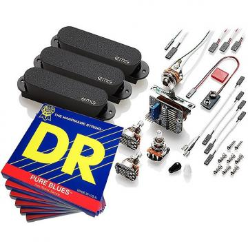 Custom EMG-SA Pickup Set for Stratocaster, Black, with 6 Sets DR Pure Blues 10-46