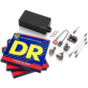 Custom EMG 60 Active Humbucker, Black, w 3 sets DR Strings Pure Blues 11-50