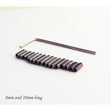 Custom 8 & 10mm Stainless Steel Bridge Saddle Height Screws & Key, for Non USA Strat Style Guitar. NEW
