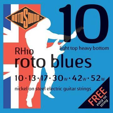 Custom Rotosound RH10 Nickel Light Top/Heavy Bottom Electric Guitar Strings 10-52