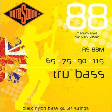 Custom Rotosound RS88M Tru Bass 88 Black Nylon Tapewound Medium Scale Strings 60-115