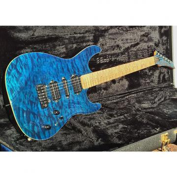Custom Carvin-Contour 66 . C66-Blue-Quilt-HSH-5-way-Maple-neck-Wilkinson-SS-frets-NICE Gig Bag