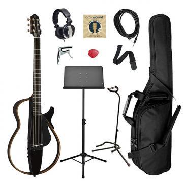Custom Yamaha SLG200S Steel String Silent Guitar Bundle - Black